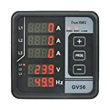Multi-Function Digital Panel Meter GV56 LED Display 3 Phase AC 165V-275V Voltage Frequency Current Protection and Alarm Function