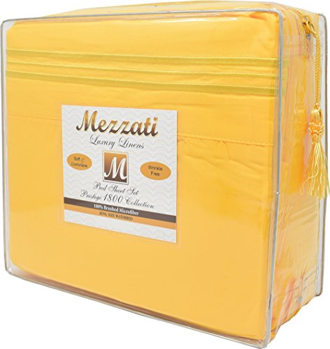 Mezzati Luxury Waterbed Sheets Set - #1 On Amazon! - Best, Softest, Coziest Sheets Ever! - Sale 1800 Prestige Collection Brushed Microfiber!! (Yellow, King)