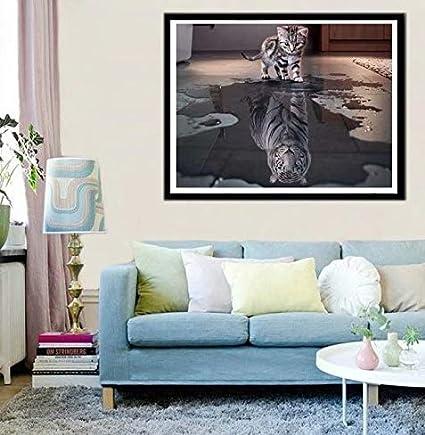 LINSUNG 5D Diamant Broderie Chat color/é R/ésine Point de Croix Peinture Kits DIY Needlework D/écoration Salon Chambre