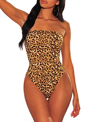 One Piece Leotard for Women Strapless Bodysuit Clubwear Tops for Women Leopard S