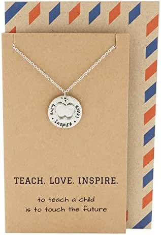 Quan Jewelry Teacher Gifts, Apple Jewelry with Teach. Love. Inspire. Engraving on Pendant, Gift Envelope, Silver Tone, 16'-18