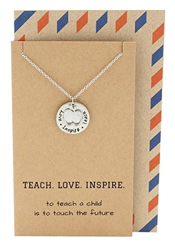 Quan Jewelry Teacher Gifts, Apple Jewelry with Teach. Love. Inspire. Engraving on Pendant, Gift Envelope, Silver Tone, 16'-18'