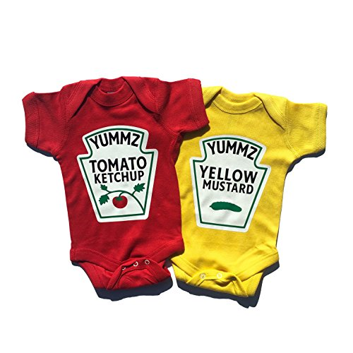 Twins Outfits, Ketchup and Mustard Twin Set, Including 2 bodysuits (6M) (Shirt Mustard Girl)
