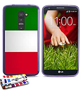 Carcasa Flexible Ultra-Slim LG OPTIMUS G2 de exclusivo motivo [Bandera italie] [Violeta] de MUZZANO  + ESTILETE y PAÑO MUZZANO REGALADOS - La Protección Antigolpes ULTIMA, ELEGANTE Y DURADERA para su LG OPTIMUS G2