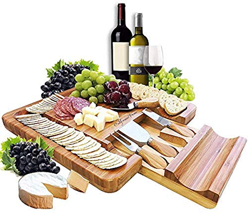 (Cheese Board and Knife Set | Charcuterie Board | Bamboo Cheese Tray with Cheese Knives Sets | Large Wooden Cheese Plate and Cheese Platter Board Set | Cheeseboard Gift Set 50th Birthday | Wedding Gift)