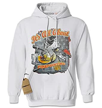 Hoodie All About Firefighting Adult XX-Large White