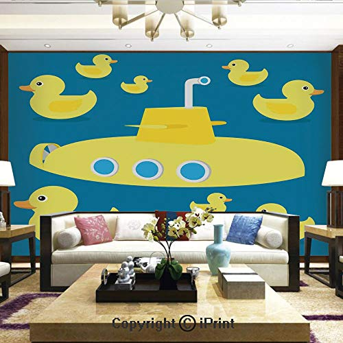 Lionpapa_mural Removable Wall Mural | Self-Adhesive Large Wallpaper,Duckies Swimming in The Sea with a Yellow Submarine Kids Party Nautical Print,Home Decor - 66x96 inches ()