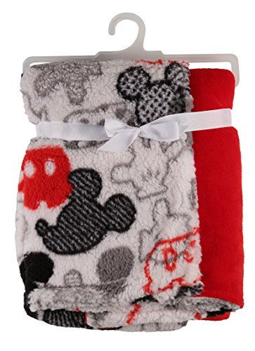 Disney Mickey Mouse Flannel and Sherpa Double Sided Infant Blanket, Icon Print ()