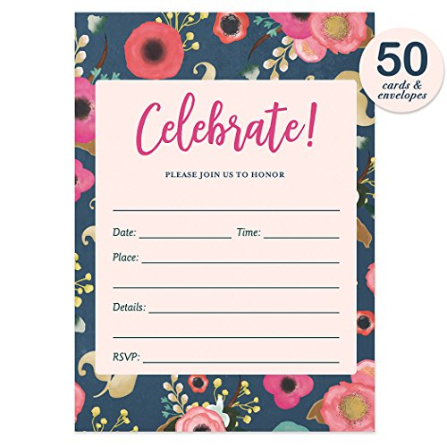Navy Floral Party Invitations with Envelopes ( Pack of 50 ) Beautiful Fill-In Bridal Shower, Retirement Party Invites Excellent Value Birthday, Anniversary Party Invitations VI0045 (Invitation Party Retirement)