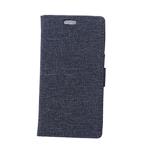 Nexus 5X Hülle,Nexus 5X Tasche,Nexus 5X Schutzhülle,Nexus 5X Hülle Case,Nexus 5X Leder Cover,Cozy hut [Burlap - Muster-Mappen-Kasten] echten Premium Leinwand Flip Folio Denim Abdeckungs-Fall, Slim Case mit Ständer Funktion und Identifikation-Kreditkarte Slots für LG Nexus 5X (5,2 Zoll) - schwarz