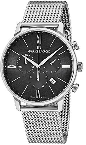 Maurice Lacroix Men's 'Eliros' Swiss Quartz Stainless Steel Casual Watch, Color:Silver-Toned (Model: EL1098-SS002-310-2)