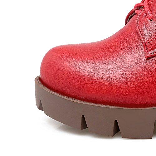 Materials Round Girls AdeeSu Blend Heels Boots Solid Kitten Red Toe 7qnZ4xA