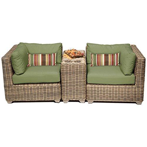 Cape Cod Wicker (TK Classics CAPECOD-03b-CILANTRO 3 Piece Cape Cod Outdoor Wicker Patio Furniture Set, Cilantro)