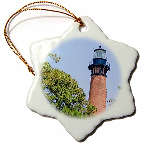 - 3dRose Danita Delimont - Lighthouses - Currituck Beach Lighthouse, Corolla, Outer Banks, North Carolina, USA. - 3 inch Snowflake Porcelain Ornament (ORN_259804_1)