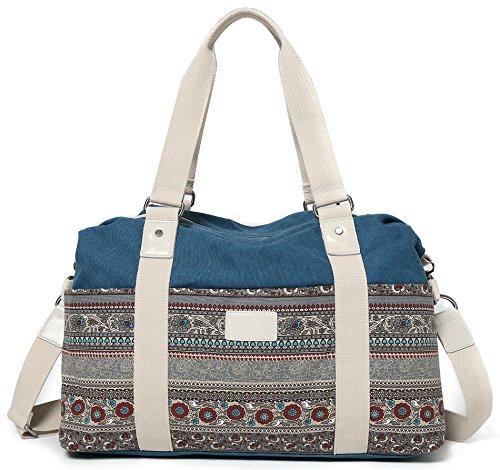 DCCN 2 Ways Women's Canvas Tote Bag with Shoulder Strap Blue