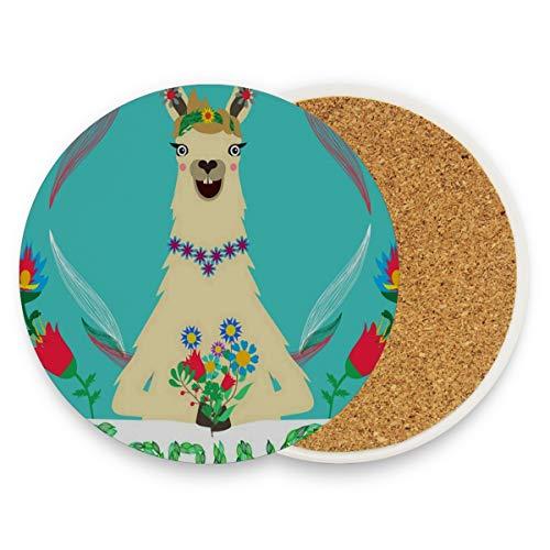 LoveBea Blue Alpaca Flower Coasters, Prevent Furniture from