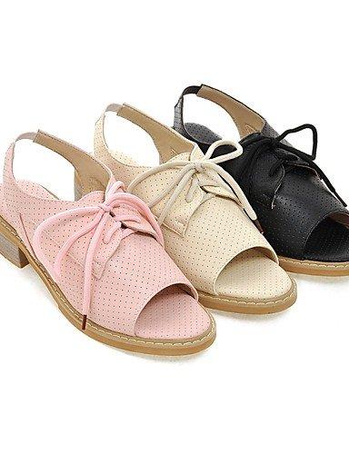 LFNLYX Zapatos de mujer-Tacón Bajo-Punta Abierta / Gladiador-Sandalias-Oficina y Trabajo / Vestido / Casual-Semicuero-Negro / Rosa / Beige beige