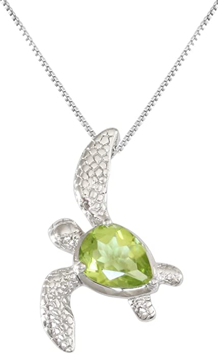 Sterling Silver 925 Peridot Sea Turtle Honu August Birthstone Pendant Necklace
