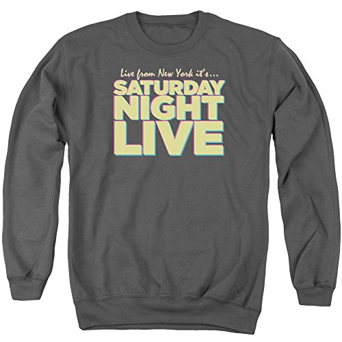 Snl Live From Ny Mens Crewneck Sweatshirt Charcoal Sm - Design Kids Crewneck Sweatshirt