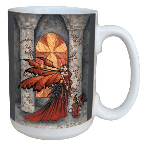 Tree-Free Greetings lm43594 Fantasy Scarlet Monkey Fairy Ceramic Mug with Full Sized Handle by Amy Brown, 15-Ounce