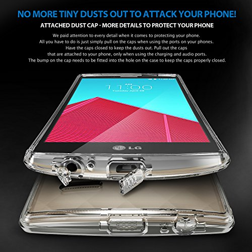 Ringke [Fusion] Compatible with LG G4 Case Crystal Clear PC Back TPU Bumper with Screen Protector [Drop Protection, Shock Absorption Technology][Attached Dust Cap] for LG G4 - Smoke Black by Ringke (Image #6)
