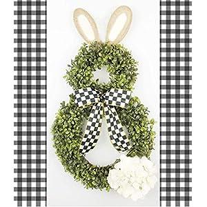 Boxwood Bunny Wreath, Grapevine Wreath, Bunny Wreath, Black Check Ribbon, Spring Wreath, Front Door Wreath, Easter Decor, Spring Decor 27