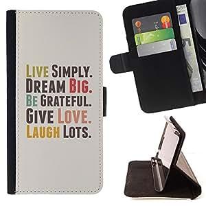 BullDog Case - FOR/Samsung Galaxy S4 IV I9500 / - / live simply dream grateful love quote laugh /- Monedero de cuero de la PU Llevar cubierta de la caja con el ID Credit Card Slots Flip funda de cuer