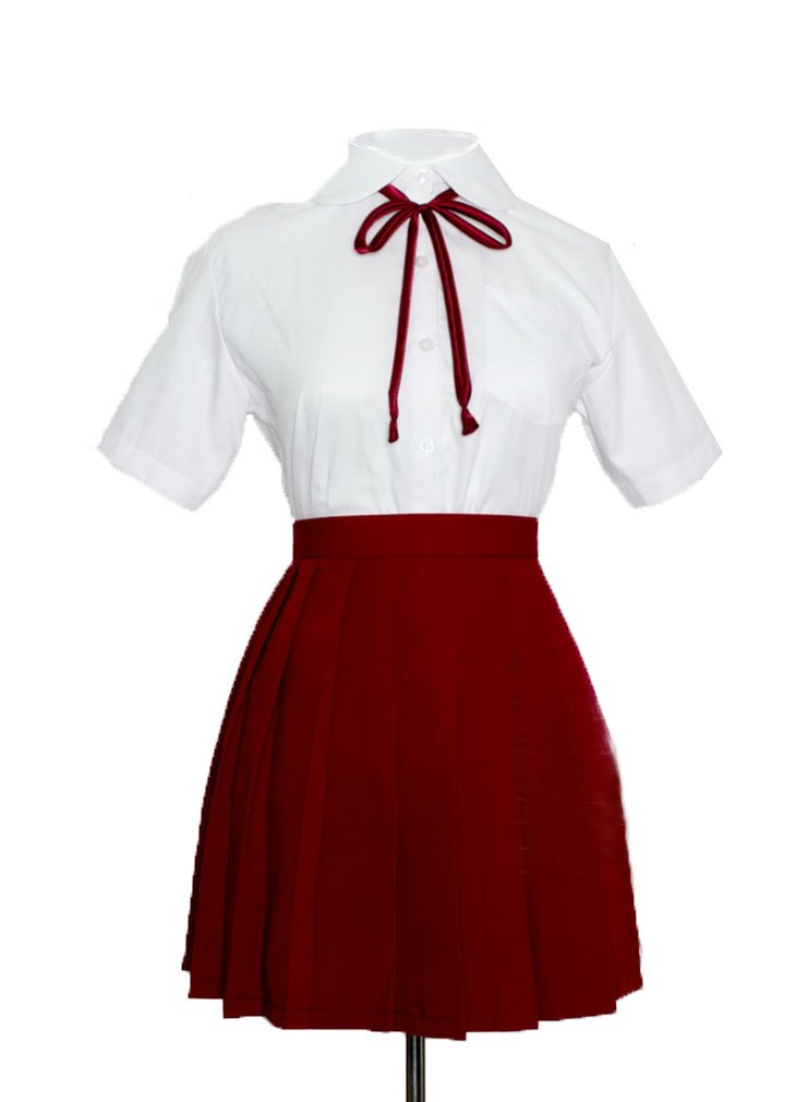 Genetic Girls White Short Sleeve Shirts Pleated Skirts Uniforms Set (Red,2XL)
