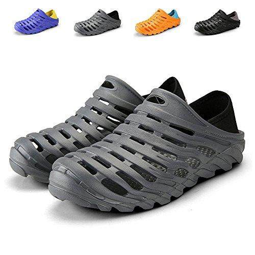 "Kqpoinw Summer Unisex Garden Clogs Walking Slippers Lightweight Breathable Sandals Anti-Slip Quick Drying Beach Water Shoes ((Men)10.5 US/45 EU=10.83"", Grey)"