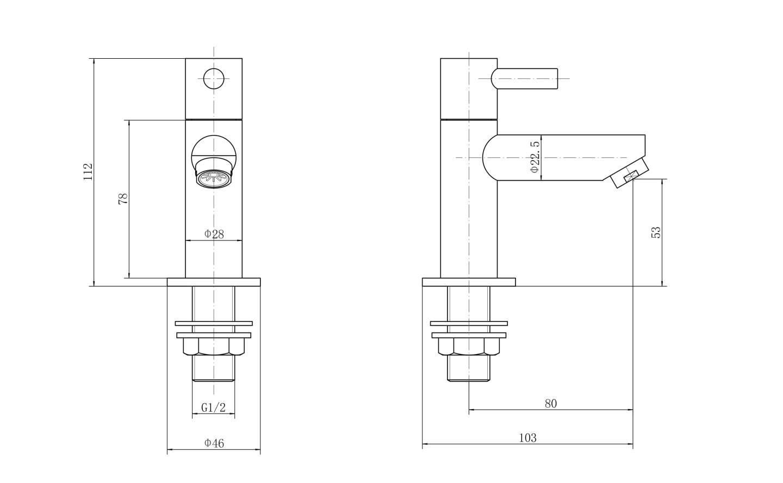 VeeBath Elizabeth Traditional Twin Bathroom Hot /& Cold Basin Sink Brass Taps