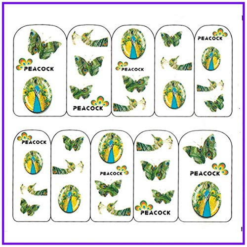 (1 Pc Peacock Feather Butterfly Plume Nails Art Sticker Water Decal Transfer Foil Adhesive Acrylic Glitter Manicure Tips Dazzling Popular Gel Polish Design Girls Line Stencils Nail Wrap Decals, Type-02)