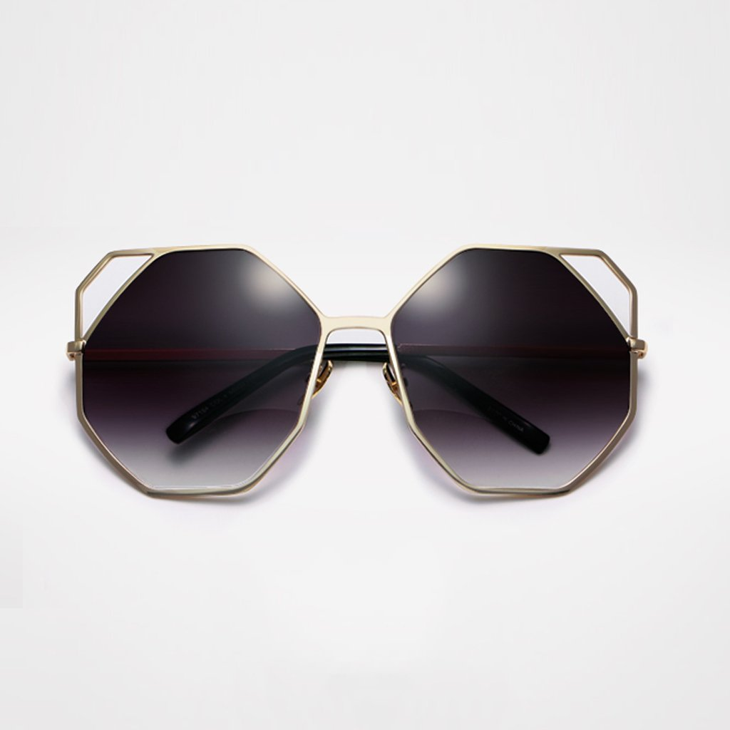 C YUBINtaiyangjing Increase The Box Round Face Fashion Cat's Eye Hollow Metal Sunglasses Long Face Tide Cut Edge Sunglasses Tide (color   A)