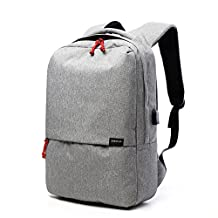 """Anti-Theft and Rainproof Color Blocking Backpack with USB Charging Port, 17"""", 20L, Compatible for Laptop within 15.6"""" (Gray)"""