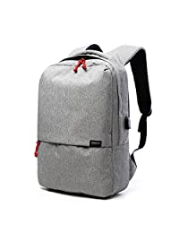 """School Backpack Lightweight and Rainproof Color Blocking Backpack with USB Charging Port Compatible for Laptop Within 15.6"""" (Gray)"""