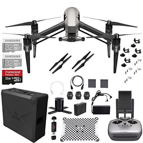 DJI Inspire 2.0 Quadcopter Drone with 2-axis FPV Camera + 32GB MicroSDHC PRO UHS-3 microSD - 2 Pack with Full DJI Accessory Pack + Bonus Ritz Gear Memory Card Reader by Ritz Camera