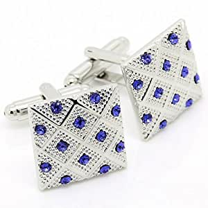 Romance Blue Crystal Decorative Pattern Silver Cufflinks