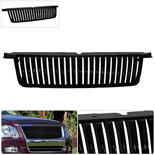 Ford Explorer Black Vertical Style Bar Grille Badgeless ABS Plastic Sport JDM ()