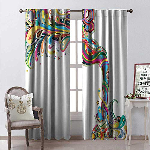 Hengshu Festival Blackout Window Curtain Abstract Composition of Primavera Inspirational Joyful Twist Carnival Concept Customized Curtains W84 x L96 Multicolor