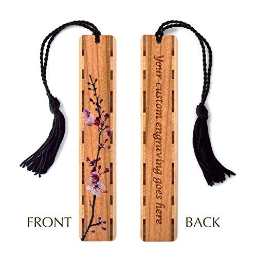 Blossom Bookmark - Personalized Cherry Blossom Branch in Color on Cherry Wood Bookmark with Tassel - Search B015D9VFRY for Non Personalized Version