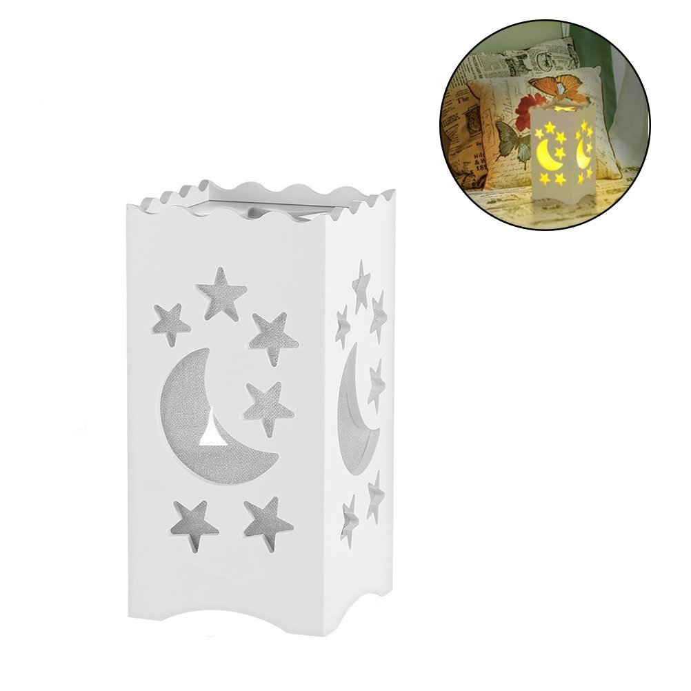 Kids Night Light Table Light White Art Light with Moon and Star Shaped Carving, Desk Lamp Night Light for Nursery,Bedroom(Star) by Dengbaba (Image #2)