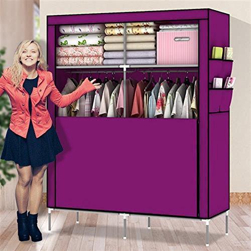 Amanda Home 10140H Portable Clothes Closet Wardrobe Fabric Clothes Storage Organizer (Blue - 69 x 43 x 18in) (Purple.)
