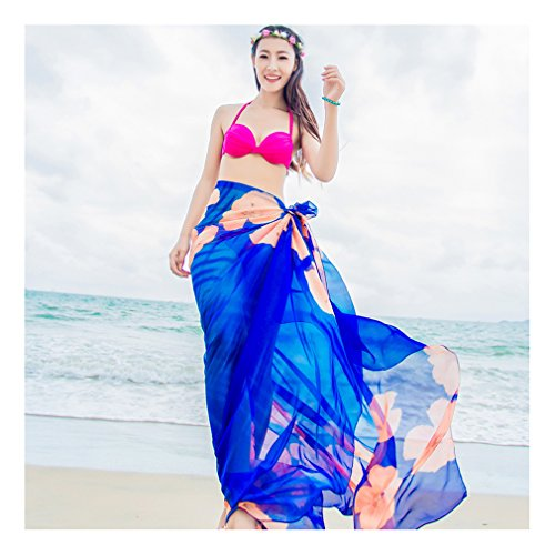 GERINLY Beach Cover Ups - Hibiscus Print Sarongs Chiffon Shawl Wrap (Blue)