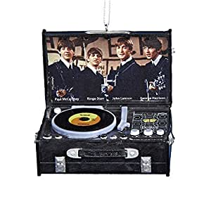 The Beatles Retro Black Suitcase Style Record Player Christmas Ornament