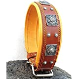 """Bestia """"EROS"""" genuine leather dog collar, Large breeds, cane corso, Rottweiler, Boxer, Bullmastiff, Dogo, Quality dog collar, 100% leather, studded, L- XXL size, 2.5 inch wide. padded. Made in Europe!"""