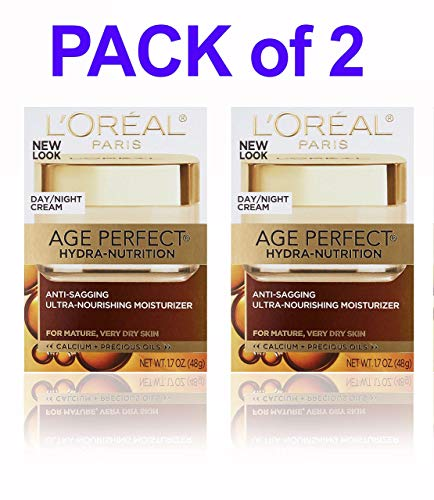 (PACK of 2) L'0real Paris Age Perfect HYDRA-NUTRITION DAY/NIGHT CREAM, Anti-Sagging Ultra-Nourishing Moisturizer, 1.7 Oz (48g) EACH - For Mature, Very Dry Skin Day Night Cream SEALED