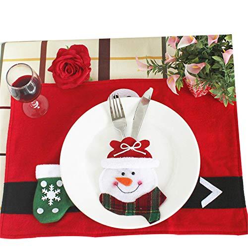 FANRENYOU 6 Styles Christmas Decorations Santa Clause Snowman Elk Fork Knife Pockets Dinner C