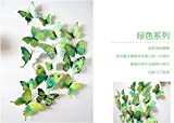 QZT Hot Sale 3D Butterfly Wall Decals12pcs 6Big+6Small PVC 3D Butterfly Wall Sticker For Home Decoration green