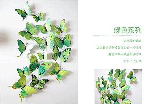 QZT Hot Sale 3D Butterfly Wall Decals12pcs 6Big+6Small PVC 3D Butterfly Wall Sticker For Home Decoration green by QZT