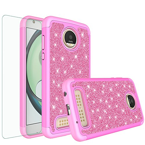 Moto Z2 Play Case, Moto Z2 Play Glitter Bling Heavy Duty Shock Proof Hybrid Case with [HD Screen Protector] Dual Layer Protective Phone Case Cover for Motorola Moto Z2 Play - (Hot Pink)