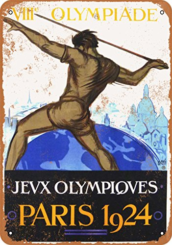 Wall-Color 10 x 14 Metal Sign - 1924 Olympic Games Paris - Vintage Look - Games 1924 Olympic
